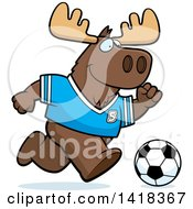 Cartoon Clipart Of A Sporty Moose Playing Soccer Royalty Free Vector Illustration by Cory Thoman