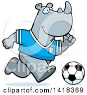 Cartoon Clipart Of A Sporty Rhino Playing Soccer Royalty Free Vector Illustration by Cory Thoman