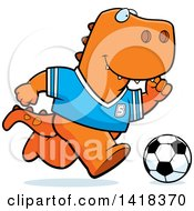 Cartoon Clipart Of A Sporty Tyrannosaurus Rex Playing Soccer Royalty Free Vector Illustration