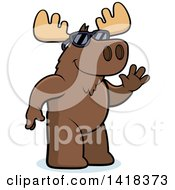 Cartoon Clipart Of A Friendly Moose Wearing Sunglasses And Waving Royalty Free Vector Illustration by Cory Thoman