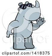 Cartoon Clipart Of A Friendly Rhino Wearing Sunglasses And Waving Royalty Free Vector Illustration by Cory Thoman