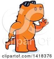 Cartoon Clipart Of A Friendly Tyrannosaurus Rex Wearing Sunglasses And Waving Royalty Free Vector Illustration by Cory Thoman