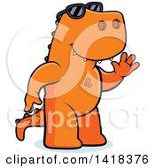 Friendly Tyrannosaurus Rex Wearing Sunglasses And Waving