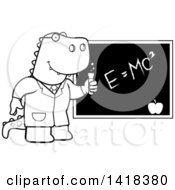 Cartoon Clipart Of A Black And White Lineart Professor Or Scientist Tyrannosaurus Rex By A Chalkboard Royalty Free Vector Illustration