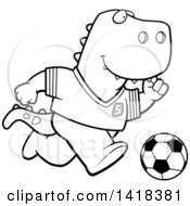 Cartoon Clipart Of A Black And White Lineart Sporty Tyrannosaurus Rex Playing Soccer Royalty Free Vector Illustration