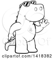 Cartoon Clipart Of A Black And White Lineart Friendly Tyrannosaurus Rex Wearing Sunglasses And Waving Royalty Free Vector Illustration