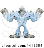 Cartoon Clipart Of A Mad Yeti Abominable Snowman Royalty Free Vector Illustration by Cory Thoman