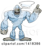 Cartoon Clipart Of A Yeti Abominable Snowman Holding Up A Finger And Talking Royalty Free Vector Illustration by Cory Thoman