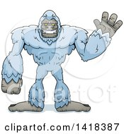 Cartoon Clipart Of A Yeti Abominable Snowman Waving Royalty Free Vector Illustration by Cory Thoman