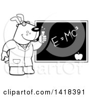 Black And White Lineart Professor Or Scientist Dog By A Chalkboard