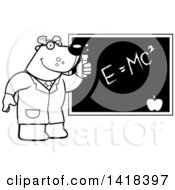 Black And White Lineart Professor Or Scientist Bear By A Chalkboard