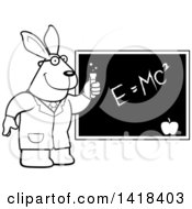 Black And White Lineart Professor Or Scientist Rabbit By A Chalkboard