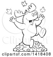 Cartoon Clipart Of A Black And White Lineart Happy Moose Playing In Autumn Leaves Royalty Free Vector Illustration