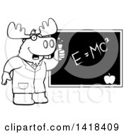 Black And White Lineart Professor Or Scientist Moose By A Chalkboard
