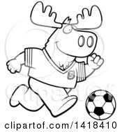 Cartoon Clipart Of A Black And White Lineart Sporty Moose Playing Soccer Royalty Free Vector Illustration