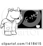 Black And White Lineart Professor Or Scientist Rhino By A Chalkboard