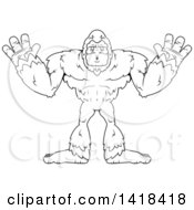 Clipart Of A Black And White Lineart Bigfoot Sasquatch Holding His Hands Up Royalty Free Vector Illustration by Cory Thoman
