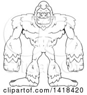 Clipart Of A Black And White Lineart Bigfoot Sasquatch Royalty Free Vector Illustration by Cory Thoman
