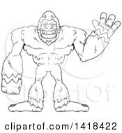 Clipart Of A Black And White Lineart Bigfoot Sasquatch Waving Royalty Free Vector Illustration