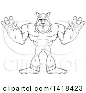 Cartoon Clipart Of A Black And White Lineart Werewolf Holding His Hands Up Royalty Free Vector Illustration by Cory Thoman