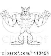 Cartoon Clipart Of A Mad Black And White Lineart Werewolf Royalty Free Vector Illustration by Cory Thoman
