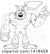 Cartoon Clipart Of A Black And White Lineart Werewolf Holding Up A Finger And Talking Royalty Free Vector Illustration by Cory Thoman