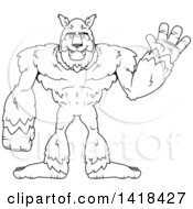 Cartoon Clipart Of A Black And White Lineart Werewolf Waving Royalty Free Vector Illustration by Cory Thoman