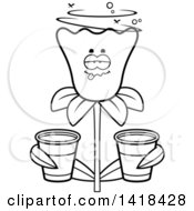 Cartoon Clipart Of A Black And White Lineart Drunk Daffodil Flower Holding Cups Royalty Free Vector Illustration by Cory Thoman