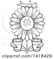 Cartoon Clipart Of A Black And White Lineart Drunk Daisy Flower Holding Cups Royalty Free Vector Illustration by Cory Thoman
