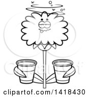 Cartoon Clipart Of A Black And White Lineart Drunk Dandelion Flower Holding Cups Royalty Free Vector Illustration