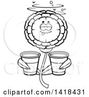 Cartoon Clipart Of A Black And White Lineart Drunk Marigold Flower Holding Cups Royalty Free Vector Illustration by Cory Thoman