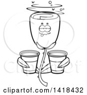 Cartoon Clipart Of A Black And White Lineart Drunk Red Rose Flower Holding Cups Royalty Free Vector Illustration