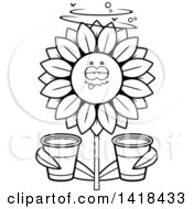 Cartoon Clipart Of A Black And White Lineart Drunk Sunflower Holding Cups Royalty Free Vector Illustration by Cory Thoman