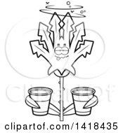 Cartoon Clipart Of A Black And White Lineart Drunk Cannabis Leaf Leaf Holding Cups Royalty Free Vector Illustration by Cory Thoman