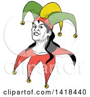Clipart Of A Jester Joker Face Royalty Free Vector Illustration by Frisko