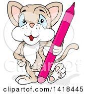Clipart Of A Cartoon Beige Cat Artist With A Colored Pencil Or Marker Royalty Free Vector Illustration by dero