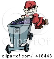 Clipart Of A Cartoon Miner Gnome Pushing A Cart Full Of Amethyst Gems Royalty Free Vector Illustration by dero