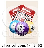 3d Bingo Balls Over Cards On An Off White Background