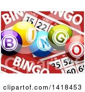 3d Bingo Balls Over Cards