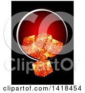 Clipart Of 3d Golden Cubes Falling Out Of A Metallic Round Frame On Black Royalty Free Vector Illustration