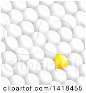 3d Yellow Sphere Standing Out In Rows Of White Ones