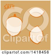 Clipart Of Autumn Sale Designs Of Leaves And An Acorn On Brown Royalty Free Vector Illustration