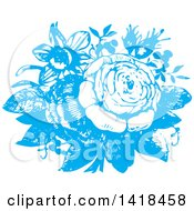 Clipart Of Sketched Blue Roses Royalty Free Vector Illustration by BestVector