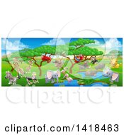 Clipart Of A African Safari Landscape With Cute Animals Royalty Free Vector Illustration