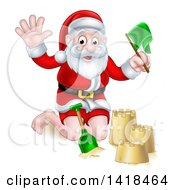 Clipart Of A Happy Christmas Santa Claus Making A Sand Castle Royalty Free Vector Illustration