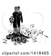 Black And White Silhouetted Posing Bride And Groom With Swirls