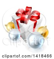 Clipart Of A 3d Christmas Gift Box And Baubles Royalty Free Vector Illustration