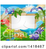Clipart Of A Blank White Sign Framed With Dinosaurs And A Jurassic Landscape Royalty Free Vector Illustration