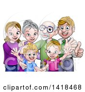 Clipart Of A Happy Caucasian Family With Children Parents And Grandparents Waving And Giving Thumbs Up Royalty Free Vector Illustration by AtStockIllustration
