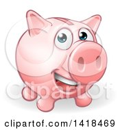 Clipart Of A Happy Pink Piggy Bank Character Smiling Royalty Free Vector Illustration by AtStockIllustration